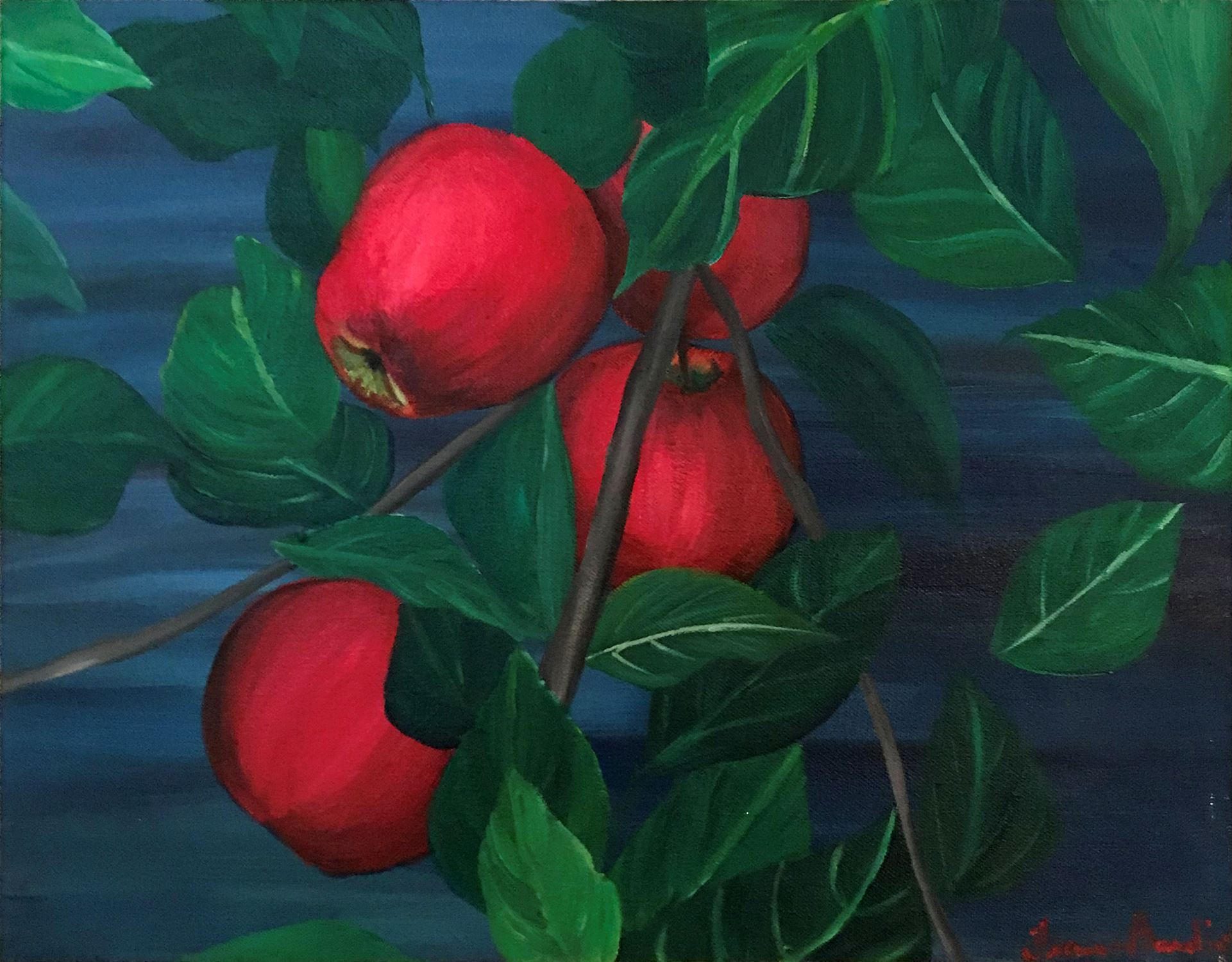 Close-up painting of red apples on a tree.