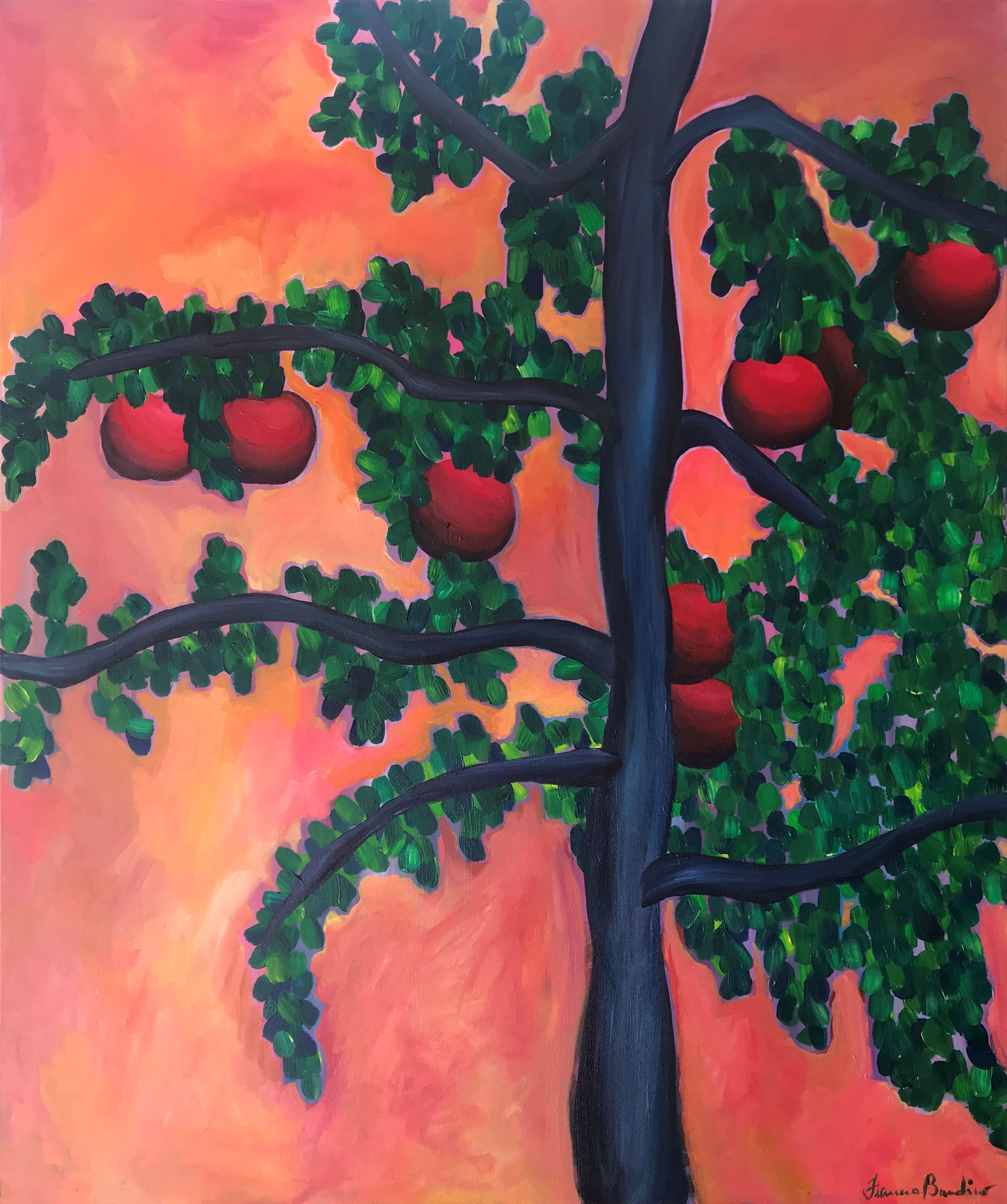 Painting of red apples on a tree
