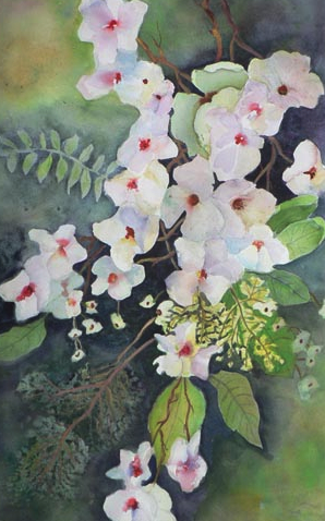 Watercolor painting of white flowers surrounded by green leaves